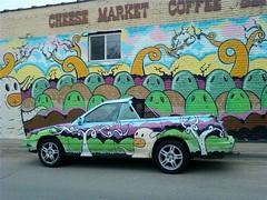 car and mural