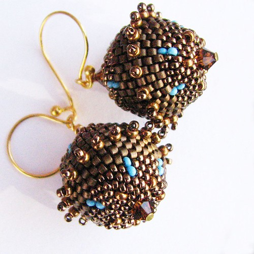 Gold and Turquoise Beaded Satellite Earrings