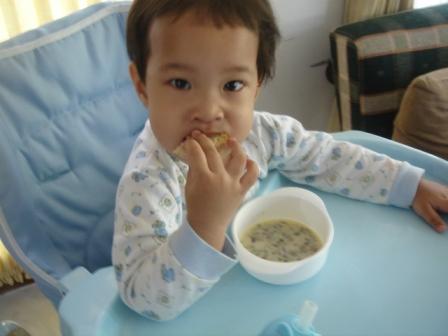 Noora eating mushroom soup