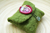 spring moss and a rainbow flower...wool felt card pouch