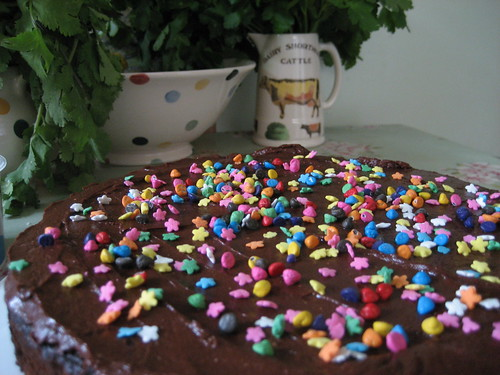 Livvy's chocolate cake, with bright primary coloured sprinkles