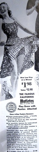 Shirred Cotton Play Dress w/ Attached Panties from 1940s Sears Catalog