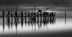 China Camp Smudge (maxxsmart) Tags: old longexposure winter sky blackandwhite bw glass clouds canon silver reflections bay pier january lee crop bayarea marincounty sanrafael 1x1 2010 chinacamp northbay ef70200f4l 1x2 fallapart crazybeautiful 5dmarkii leehardedgendgrad9 nd110bw10stopsolidnd