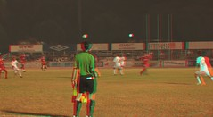 3D Linesman (3DGUY.tv) Tags: red water fountain statue football 3d singapore soccer cyan anaglyph panasonic 3dguy 3dvideo 3dsports 3dguytv 3dcontent