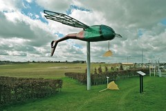 Dragonfly sculpture turns into a duck for April Fools day (lovemyk9x) Tags: sculpture artist dragonfly wiltshire qinetiq aprilfool boscombedown gazellehelicopter charlottemoreton solticepark