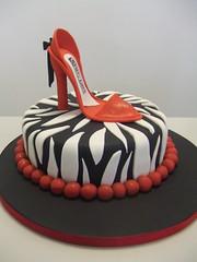Red stiletto on zebra cake (CAKE Chester) Tags: birthday red party sexy cake shoe stripe celebration chester zebra stiletto classy