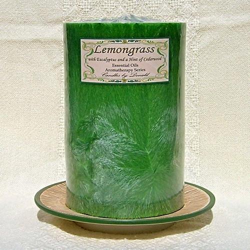 Lemongrass with Eucalyptus scented natural palm wax pillar