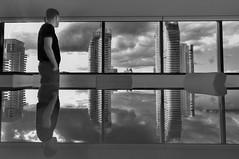 Three pillars (Alex Power (twenty90seven)) Tags: sky cloud white 3 black reflection building skyline modern table gold coast three oracle apartments apartment dramatic australia line future queensland pillars boardroom futuristic unit broadbeach twenty90seven niecon