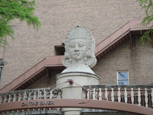 Aztec Theater sculpture as seen from river