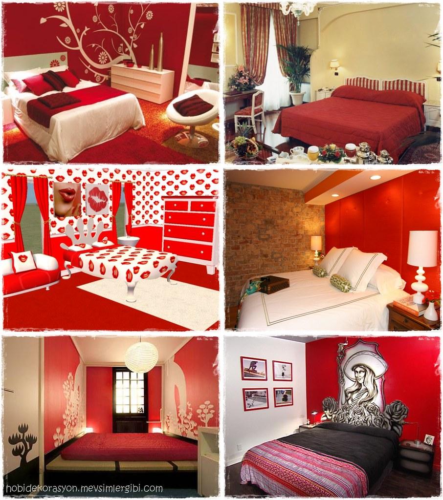 kırmızı yatak odaları kırmızı ev dekorasyonu örnekleri ev dekorasyonu yatak odası red bedrooms beds decorations ideas