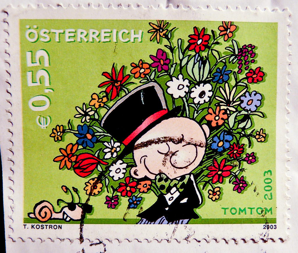 Tom Tom Comic stamp € 0,55 Austria Happy Birthday Flowers congratulations stamps TomTom 2003 Österreich Autriche stamps timbres selos bollos snail with sunglasses special issue stamp, commemorative is