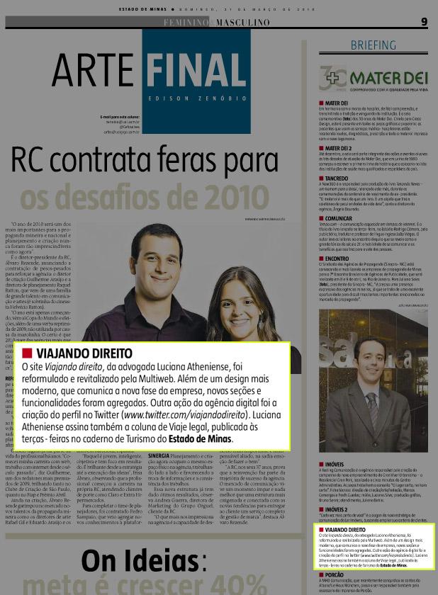 Site do Mercadinho Viajando Direito no Jornal Estado de Minas