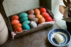Dyed Eggs (La Branaro) Tags: ranch film 35mm easter texas fuji farm olympus h 400 eggs vintagecamera pro om hillcountry om1 workingfarm dyed easterdecoration texashillcountry classiccamera 400h centraltexas ruraltexas 50mmzuiko ruralhillcountry lyndonjohnsonstatepark lyndonjohnsonstatehistoricalpark lyndonjohnsonnationalhistoricalpark