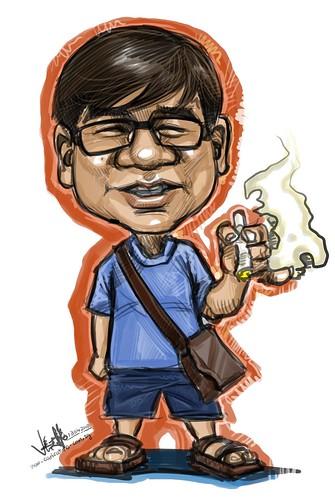 Eddie Quek's live colour digital caricature A3