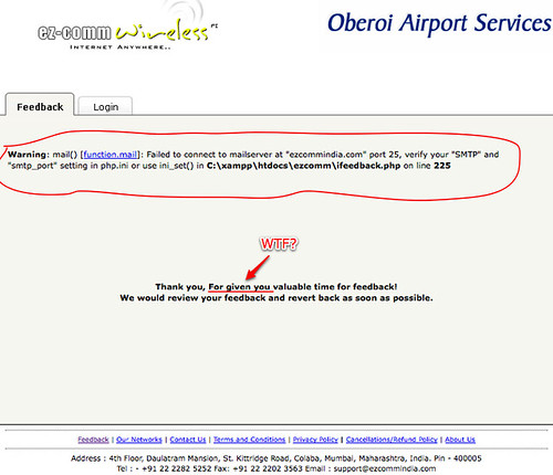 Feedback page for Mumbai airport wifi