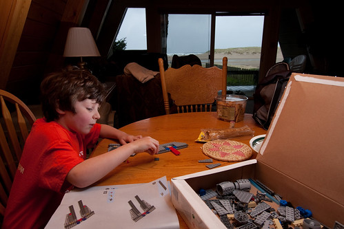 Finn, lego and the view to the beach