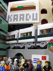 Lacunar Urbs - City Scene (Ludgonious) Tags: city train subway liu lego burger alien crowd rail advertisement atlas doog urbs kaadu lacunar