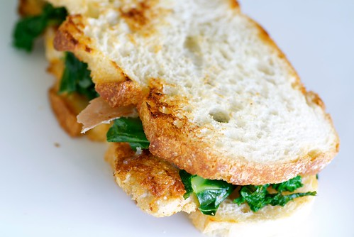 veal cutlet sandwich with garlicky greens, smoked