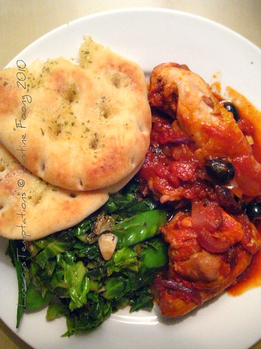 Chicken Cacciatore, Spring Greens and Garlic Bread - Sunday Dinner