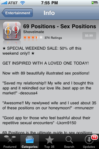 69 Sex Positions App in Apple App Store (Entertainment category)