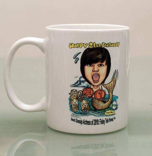 mermaid caricature on mug -2