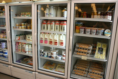 Organic milk and eggs, stored very carefully in chillers