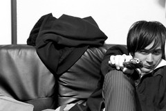 Playing with Guns (Makoto) (joyjwaller) Tags: people blackandwhite sexy kitchen japan portraits fun tokyo play guns jest gunplay kitashinjuku weareallearnestpacifists frenchyoncescaredtheshitoutofateenagedconveniencestoreemployeewiththisgun