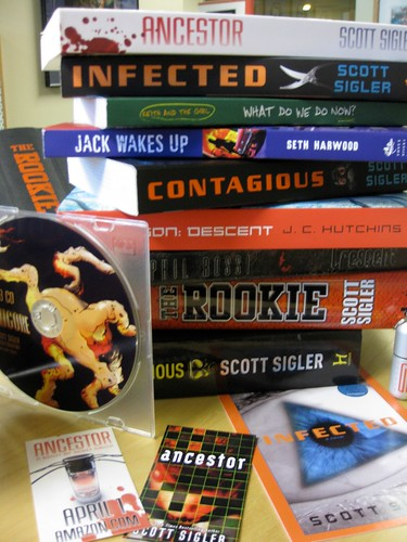 Giant pile of SWAG for Scott Sigler's horror-thriller novel ANCESTOR
