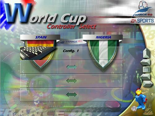 Captura de pantalla de World Cup 98 de EA Sports, con el menú de comienzo de partido