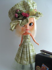 OOAK Blythe Hat and Dress -- Green Plaid