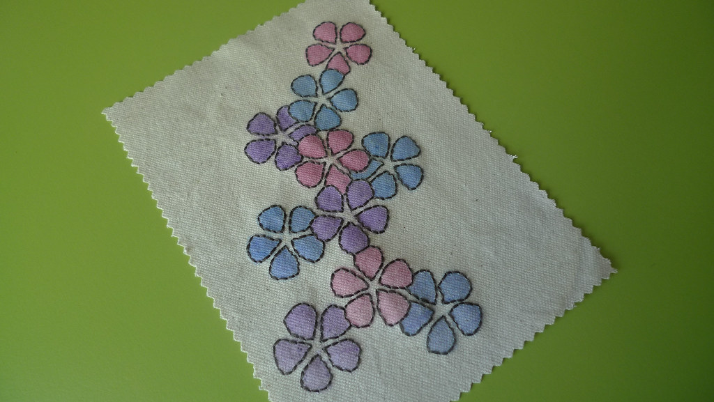 colorful flower embroidery