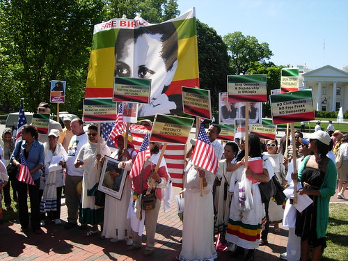 Protesters recently marched by the State Department demanding pressure for democratic change in Ethiopia - photo by Ethiopiaforums.com