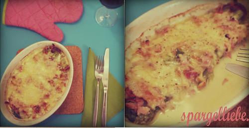 gratin aus grünem spargel, schinken & gorgonzola