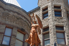 yes, charge forth armed with the knowledge of books (kthread) Tags: woman statue library pa carnegie braddock kthread