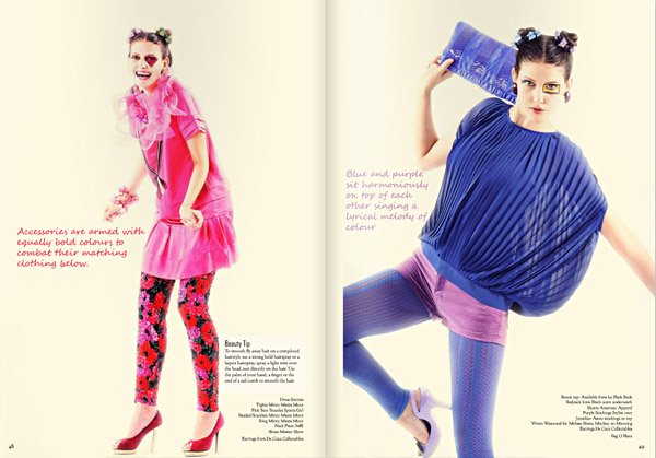 Colour Blocking Fashion, pinks Purple and Blue. Le Magazine Issue 3, All The Colours Of The Rainbow