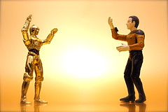 C-3PO vs. Data (137/365) (JD Hancock) Tags: startrek yellow fun toy actionfigure starwars interesting action cc figure data duel 365 c3po 1k day137 nogeo inkitchen galleried jdhancock duel365