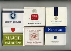 Cigarette packaging - 20s packets from UK  late 1960s. (sludgegulper) Tags: de virginia major box cigarette piccadilly smoking special filter packaging carton boxes packet silkcut cartons cigarettes plain tobacco luxe turkish no1 packets seniorservice kensitas extrasize sullivanpowerll virtualtobacconist