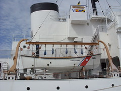 Lifeboat and davit (Spalaywitheepi) Tags: white west coast key ship florida smoke united guard stack lifeboat states