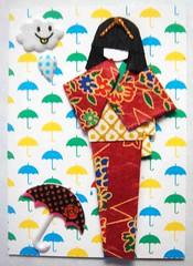 ATC304 - Looks like rain (tengds) Tags: blue cloud white green yellow atc umbrella maroon bow kimono obi raindrop papercraft japanesepaper washi ningyo japanesepattern handmadedoll handmadecard chiyogami japanesepaperdoll goldcord wazome washidoll origamidoll foamsticker tengds