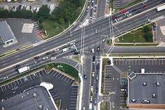 Edison intersection (dougschneiderphoto) Tags: road usa car newjersey nj aerial blimp airship intersection metlife turning edison dirigible snoopyone