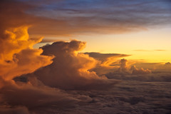 Clouds Over Mallorca (Cameron Booth) Tags: sunset sky window clouds 510fav wow airplane spain europe aeroplane fromabove es intheair windowseat balearicislands illesbalears islasbaleares