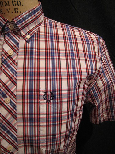 Fred Perry - M5253 - Tartan Woven SS - White Blue Red by you.