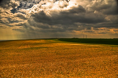 Cumulo Artistus (An Artist's Clouds) (mendhak) Tags: uk light wallpaper england lighthouse white storm detail tower mike field sunshine rain clouds contrast painting landscape golden corn nikon artist britain painted south stormy cliffs canvas coastal hour electricity rays distance plain hdr dover bracketing d90 cumulo godlikegenius mendhakwallpaper artistus mendhakwebsite