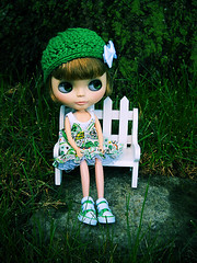 Piper resting on our new bench.