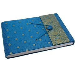 Medium sari photo album blue (PaperHigh) Tags: green scrapbook paper photo handmade fair fabric albums friendly watercolour ethnic stationery saree trade eco sari artbook keepsake ethical khadda