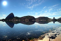Sugar Loaf Bay reflections (Heaven`s Gate (John)) Tags: ocean travel sea brazil mountain reflection southamerica water rio brasil landscape view cablecar sugarloaf riodejanerio 10faves johndalkin heavensgatejohn sugarloafreflections