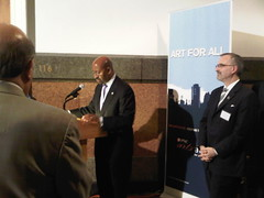 Mayor Nutter and Gary Steuer at the opening reception for The Art Gallery At City Hall