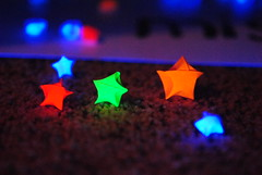 Catch a falling star... (Explored) (MadSnapz Photography) Tags: light orange black colors yellow paper stars star neon glow colours hand purple handmade uv made explore blacklight noedit glowing pour noediting uvlight madebyhand explored sooc