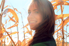 Stephy IV (Shandi-lee) Tags: autumn fall girl smile sunshine cornfield october warm naturallight brunette