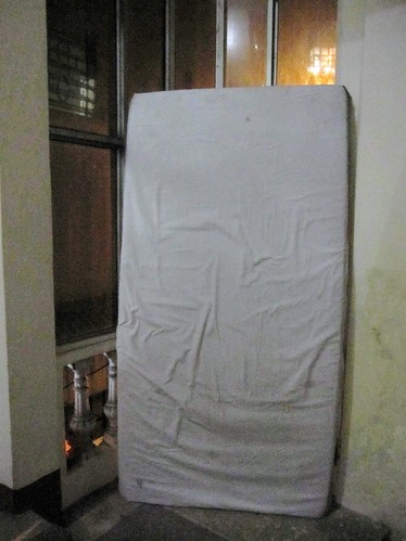 Our Hostel's Solution to a Broken Window... a Soiled Mattress